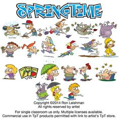 Funny spring time cartoon clipart for all grades.