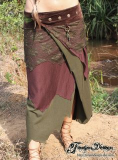 Long Pixie skirt Dryad brown and green XSM only by TimjanDesign