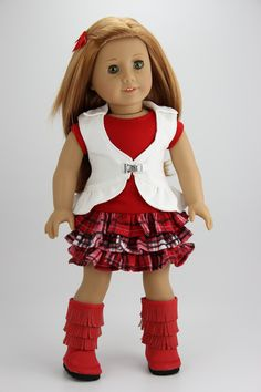 Handmade 18 inch doll clothes - Red plaid 4 piece ruffled skirt outfit (416red) by DolliciousClothes on Etsy
