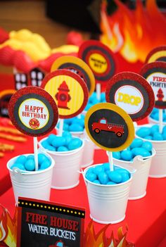 FIREMAN Birthday - Fire Fighter CUPCAKE TOPPERS - Fire Station