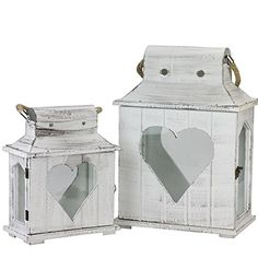 Set of 2 Decorative White Washed Wooden Candle Holder Lanterns with Heart Shaped Cut-Outs - Northlight Seasonal Small Lanterns, Wooden Lanterns, Lanterns Decor, Candle Lanterns, Decorative Lanterns, Wooden Candle Holders, Lantern Candle Holders, Wooden Panel Design, Pots