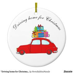 """""""Driving home for Christmas"""" car towing tree Ceramic Ornament"""