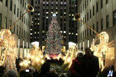 Rockefeller Center Tannenbaum bei Nacht