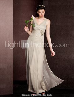 Sheath/Column V-neck Floor-length Silk Bridesmaid Dress 2053282 2016 – $142.99