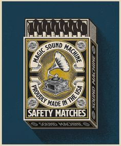 It's been a while since I designed a matchbox so here is a new one I made yesterday just for fun I always loved how gramophones look and… Old Garage, Garage Art, Users And Abusers, Teen Art, Matchbox Art, Texture Packs, Vintage Lettering, Best Vibrators, Imagines