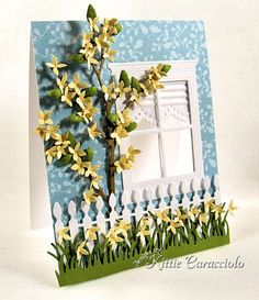 Kitty Kraft - SusanTierney Cockburn's Flower Forsythia from Sizzix. What a great use for the Forsythia. Makes total sense since it has a long branch on it. Very pretty!