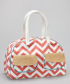 Take a look at this Coral & White Zigzag Overnight Bag by Caught Ya Lookin' on #zulily today! $104.99, regular 150.00