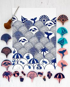 I challenged myself to make a version of my wave/beach scene print that contains all the stamps I carved for this series - all 17 stamps to… Stamp Printing, Printing On Fabric, Screen Printing, Stencil Painting, Fabric Painting, Clay Stamps, Stamp Carving, Fabric Stamping, Handmade Stamps