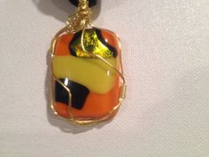 Wire wrapped fused glass pendant with by fusedglassbyjemima, $30.00
