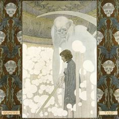 ~ Heinrich Lefler (1863-1919), Der Gevatter Tod (Godfather Death) by the Brothers Grimm. Part of a fairy tale calender published 1905 by Berger & Wirth, Leipzig.  'Then Death seized him so firmly with his ice-cold hand that he could not resist, and led him into an underground cavern. There the physician saw how thousands and thousands of candles were burning in endless rows, some large, others medium-sized, others small. Every instant some died out, and others were relit, so that the little…