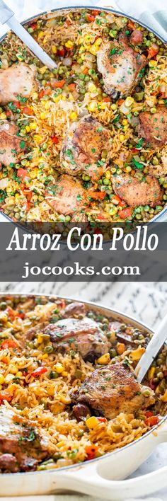 is the best Arroz Con Pollo recipe! Featuring chicken, loads of veggies, beer and white wine, all made in one pot. Dinner doesn't get any better than this. Turkey Recipes, Lunch Recipes, Mexican Food Recipes, Chicken Recipes, Dinner Recipes, Cooking Recipes, Healthy Recipes, Ethnic Recipes, Mexican Meals