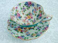Teal Blue Chintz Teacup and Saucer / Vintage Royal Standard Teal Tea Cup and Saucer / Floral Chintz Cup and Saucer