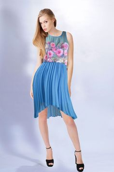 High Low Pleated Blue Floral Chiffon Dress by Umgee #UmgeeUSA #Cocktail