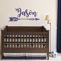 BATTOO Personalized Arrow Name Wall Decal- Boys Name Arrow Tribal Wall Decal-Custom Name Decal Nursery Wall Decal Arrow Wall Art Decor(A-navy blue, 50'WX21'H) -- More info could be found at the image url. (This is an affiliate link and I receive a commission for the sales)