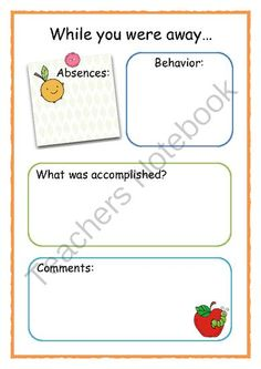 FREE: While you were away 2 from Little Learners- little hands and feet, big potential! on TeachersNotebook.com (1 page)