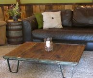 Rescued Antique Railway Shipping Cart turned into a Reclaimed Oak Wood Coffee Table.