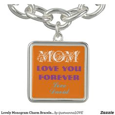 "Personalized Silver Plated Square Orange Charm Bracelet For Mom, for Mother's Day Gifts. Customize easily quickly automatically to CHANGE TO YOUR OWN NAME on the wonderful Orange Charm. Charming Bracelet for every occasion, adorable charm Bracelet for beloved Mom saying ""Mom, you are so loved. Love Jeffery. Own this unique Bracelet TODAY SHOP NOW! 30 Day Money Back Guarantee. Fast Worldwide shipping. Gift wrapped in a special black felt bag, perfect for gifting. $25.65"