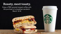 Starbucks: FREE Grande Coffee with Breakfast Sandwich Purchase