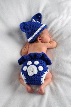 Baby Girl or Boy Kentucky Wildcats or BYU Cougars Inspired Hat and Diaper Set - Newborn - Reborn Doll - Paw - MADE to ORDER