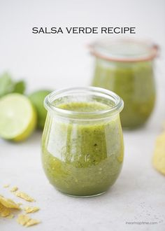 Easy Salsa Verde Recipe with a touch of sweet and spicy! Enjoy this homemade tomatillo salsa with tortilla chips or with your favorite Mexican dish. Pesto, Mexican Dishes, Mexican Food Recipes, Appetizer Dips, Appetizer Recipes, Easy Salsa Verde Recipe, Sauces, Fresh Tortillas, Good Food