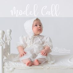 New born baby sitting on a bed wearing a white dress for a photography. Cute Little Baby, Little Babies, One Year Old Baby, Mini Mo, Baby Sitting, White Caps, Old Models, Little Star, Baby Wearing