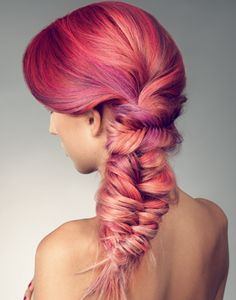 red fantasy hair braided #hair #ombre #pink