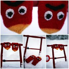 Angry birds votter Angry Birds, Knitted Hats, Beanie, Knitting, Tricot, Breien, Stricken, Weaving, Beanies