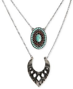 Lucky Brand Necklace, Silver-Tone Multi-Set Stone Double Necklace - Fashion Necklaces - Jewelry  Watches - Macy's