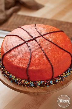 All-Star Basketball Cake from Pillsbury® Baking. Pat frosting with a paper towel to create the texture of a basketball—score! Basketball Party, Basketball Birthday Cakes, Basketball Cookies, Soccer Ball, Basketball Clipart, Basketball Crafts, Softball Party, Basketball Decorations, Basketball Videos