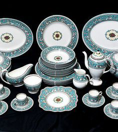 Fine Vintage 40-pc. Wedgwood Florentine Turquoise W2714 Dinner and Coffee Service for 6, c. 1950's
