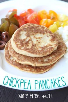 Chickpea Pancakes recipe – dairy free Chickpea pancakes a beautiful baby food and baby led weaning idea! Milk and gluten free. Serve with tomatoes, black olives and some feta cheese. Sweet Potato Baby Food, Chicken Baby Food, Baby Snacks, Baby Foods, Dairy Free Recipes, Baby Food Recipes, Gluten Free, Weaning Foods, Led Weaning
