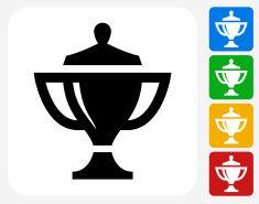 Trophy Icon Flat Graphic Design vector art illustration