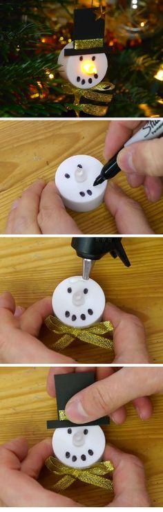 DIY LED Snowman Decorations   Easy Christmas Crafts for Toddlers   Fun Christmas Decorations for Kids