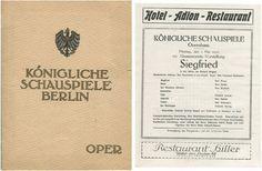 """SIEGFRIED,"""" KONGLICHES SCHAUSPIElE BERLIN- May 1, 1916. LARSEN-TODSEN,"""