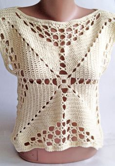 This is Beautiful the model and I can do it exactly for you! 100% hand crocheted by me :)  Size: S chest - 80 - 89 cm. waist - 65 - 73 cm. . Material: 50% cotton, 50% bamboo Color: ivory   *Please bear in mind that photo may slightly different from actual item in terms of color due to the lighting during photo shooting or the monitors display.  *Like it? Come to my shop :) https://www.etsy.com/shop/ElenaVorobey?ref=si_shop