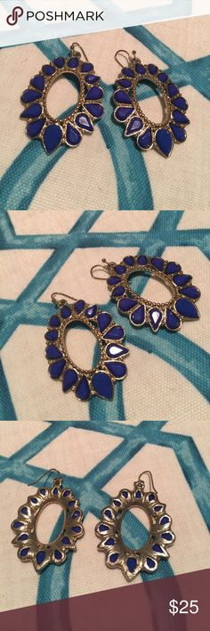Blue & gold statement earrings! VGUC Cobalt Blue & Gold Statement Earrings! Perfect for a special event or to dress up for a night out. Little to no signs of wear! Jewelry Earrings