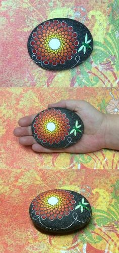 Mandala Stone with dragonfly. by Kimberly Vallee: Hand painted with acrylic and protected with a matt finish, each stone is diameter and is one-of-a-kind. Pebble Painting, Dot Painting, Pebble Art, Stone Painting, Stone Crafts, Rock Crafts, Arts And Crafts, Mandala Rocks, Mandala Art