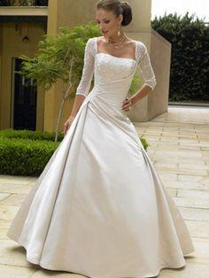 A-Line/Princess Square 3/4 Sleeves Satin Lace Court Train Wedding Dresses