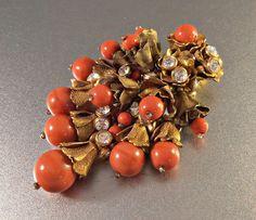 "#vintage #VogueTeam #JewelryOnEtsy Miriam Haskell Dress Clip, Rhinestone Rose Montee, Pate de Verre Coral Glass Beads, Gilt Brass, Large 3.25"""