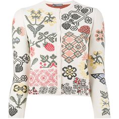Alexander McQueen graphic floral intarsia fitted cardigan ($1,595) ❤ liked on Polyvore featuring tops, cardigans, floral cardigans, white fitted top, graphic tops, floral tops and floral print tops