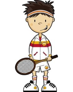 Tennis Boy Cartoon Character no Background Royalty Free Stock Vector Art Illustration