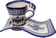 Polish Pottery Ceramika Boleslawiec,  0255/162, Coffee and Cake Set Fala, 1 1/4 Cups, Royal Blue Patterns with Blue Pansy Flower Motif by Lidia's Polish Pottery, Inc., http://www.amazon.com/dp/B006BE7610/ref=cm_sw_r_pi_dp_dUGGqb1KMJK5B