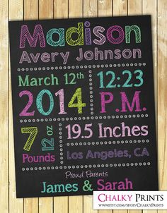 Birth Announcement Wall Art  Printable Birth by ChalkyPrints, $10.00