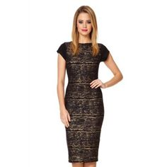 Quiz Gold Textured Wavy Foil Midi Dress- at Debenhams.ie  20