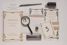 wedding invitation, gold and black, secession Art Nouveau, Art Deco, Wedding Invitations, Monogram, Pattern, Gold, Black, Black People, Patterns