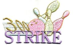 Strike Embroidered Iron On Patch Bowling Patch Womens League Sports