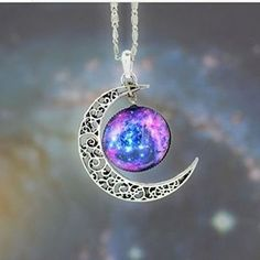 Joyplancraft Galaxy Necklace Hollow Out Crescent with Blue Purple Star Galactic Cosmic Moon Charm Necklace Wedding Necklace