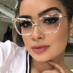 Quality Fashion Square Glasses Frames For Women Trendy brand Sexy cat eye glasses frame Optical Computer Eyeglasses oculos Armacao 2019 with free worldwide shipping on AliExpress Mobile Fashion Eye Glasses, Cat Eye Glasses, Cute Glasses, Glasses Frames, Girl Glasses, Glasses Outfit, Round Lens Sunglasses, Sunglasses Women, Lunette Style