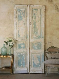 Salvaged Doors - French Shabby Chic Style Decorating - via Belle Escape