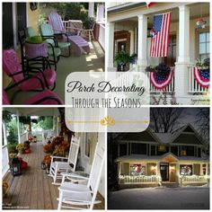 Find seasonal and holiday porch decorating ideas here. Stop by for inspiration!  Front-Porch-Ideas-and-More.com #porch #porchdecorating